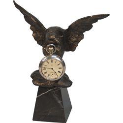 Cast-Iron Eagle Pocket Watch Holder On Marble Base w/ P