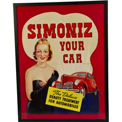 Simoniz Your Car Die-Cut Cardboard Advertisement Sign I