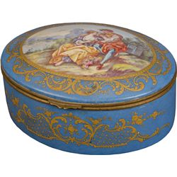 Early Painted Sevres Porcelain Oval Countertop Box w/ L