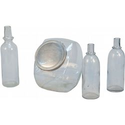 Lot Of 4 Misc. Vintage Countertop Clear Glass Container