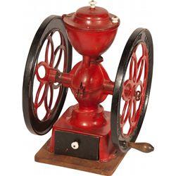 Early Red Cast-Iron Countertop 2-Wheel Coffee Grinder