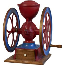 Early Red And Blue Cast-Iron Model No. 2 2-Wheel Coffee