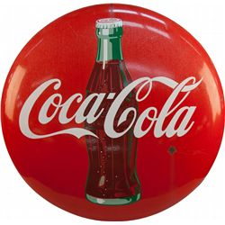 Large Coca Cola Porcelain Button Sign w/ Bottle Picture
