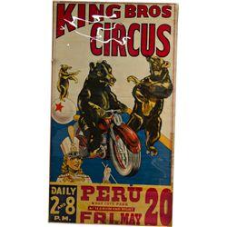"Large ""King Bros."" Circus Poster Depicting 3 Bears"