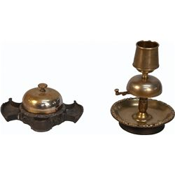Lot of 2 Early Countertop Saloon Bell Match Holders: