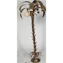 Palm Tree Floor Lamp w/ Bulbs And 6 Milk Glass Globes