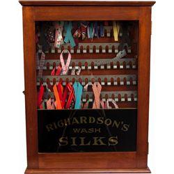 "Early Oak & Glass ""Richardson's Wash Silks"" Display Cab"
