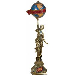Schlitz Beer Figural Gold Woman w/ Globe Light-Up Displ