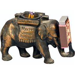 Early Bronze Advertising Elephant Match Holder w/ Match