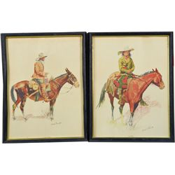 Lot of 2 Frederic Remington Art Drawings in Frames: