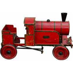 WWII-Era Red Wooden LMS Train Pedal Car w/ Bell
