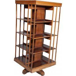 Large Wooden 4-Sided Bookshelf On Swivel Base