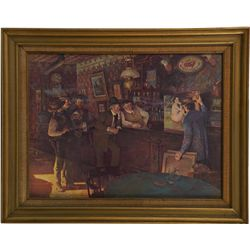 Bar/Saloon Scene Painting on Canvas in Frame