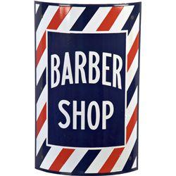 Curved Porcelain Barber Shop Sign w/ Metal Brackets