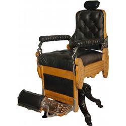 Early Oak & Black Upholstery Koken Barber Chair
