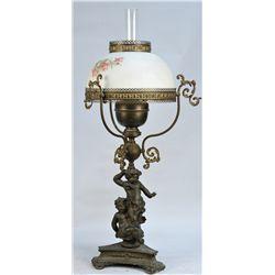 Ornate Countertop Bronze Oil Lamp w/ Floral Des