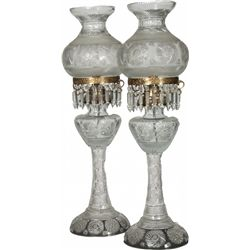 Lot of 2 Large Pasabahce Clear Crystal Lamps