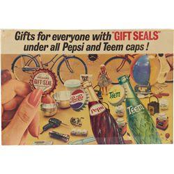 Vintage Pepsi and Teem Cardboard Lithograph Advertiseme