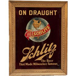 Schlitz Beer On Draught Glass Advertisement Sign In Fan