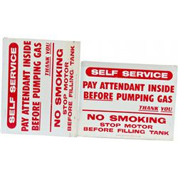 Lot of 2 Self Service Gas Station Tin Flange Signs: