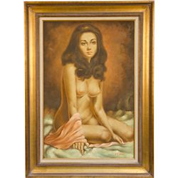 Nude Lady Oil Painting On Canvas Signed Y.Jimmy In Wood