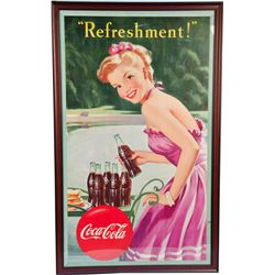 Large Vintage Coca Cola Cardboard Advertisement Sign