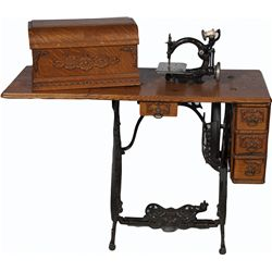 Early National Treadle Sewing Machine On Wheels