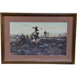 Lot of 2 C.M. Russell Cowboy/Western Prints in Matching