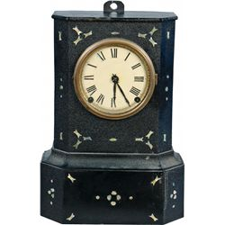 Early Black Cast-Iron And Wood Wall Mount Clock