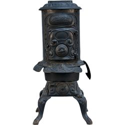Early Ornate Cast-Iron Wedgewood Oak No.11 Parlor Stove