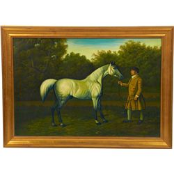 Man And Horse Pastoral Oil On Canvas Painting In Gold