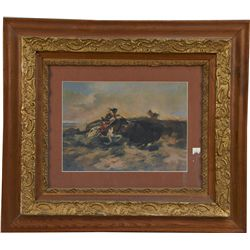 Lot Of 2 Western Style Prints In Frames: