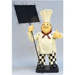 Molded Resin Painted Figural Wine Chef Statue w/ Sign