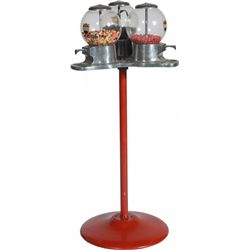 Abbey Triple Vendor 3 Candy Dispensers On 1 Red Cast-Ir