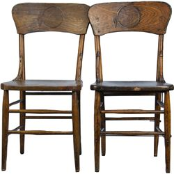 Pair of Matching Wooden Schlitz Beer Chairs