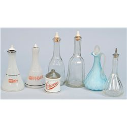 Lot Of 7 Early Barber Shop Glass Containers: