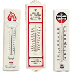 Lot of 3 Small Tin Wall Thermometer Signs