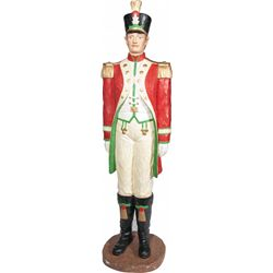 Lifesize Painted Carved Wood Soldier On Round Base