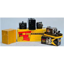 Lot of 6 Vintage Kodak Cameras And Camera Accessories: