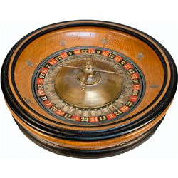 Tabletop Wood And Brass Roulette Wheel w/ Ball