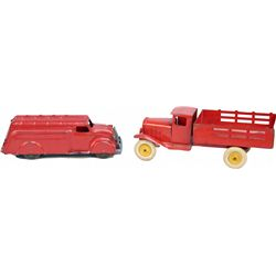 Lot of 2 Red Pressed Steel Wyandotte Toy Automobiles
