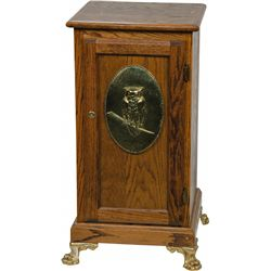 Oak Slot Machine Stand w/ Mills Owl On Front