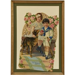 Lot Of 2 Prints Featuring Kids & Dogs In Frames: