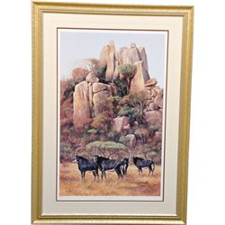 """""""Antelopes In The Matopas"""" By Terry Frost c'93 Poster"""