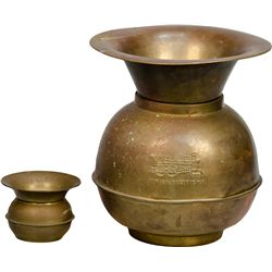 Lot of 2 Early Brass Spittoons: