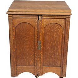Oak Cabinet w/ Double Doors and 2 Shelves on Wheels