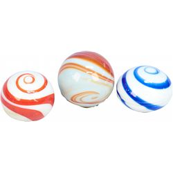 Lot of 3 Marble Swirl-Design Screw-On Knobs: