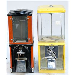Lot of 2 Coin-Operated Countertop Vending Machines: