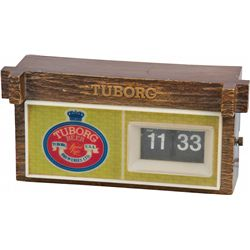 Plastic Light-Up Tuborg Beer Cash Register Sign w/ Cloc