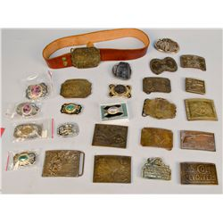 Lot of 25 Assorted Metal Belt Buckles And 1 Brown